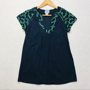 Anthropologie Tabitha 2 Top Navy Blue Green